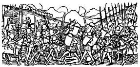 Battle scene; from Johannes de Thwrocz, Chronica Hungarorum, Augsburg (Ratdolt) 1488.  From the Medieval Woodcuts Clipart Collection