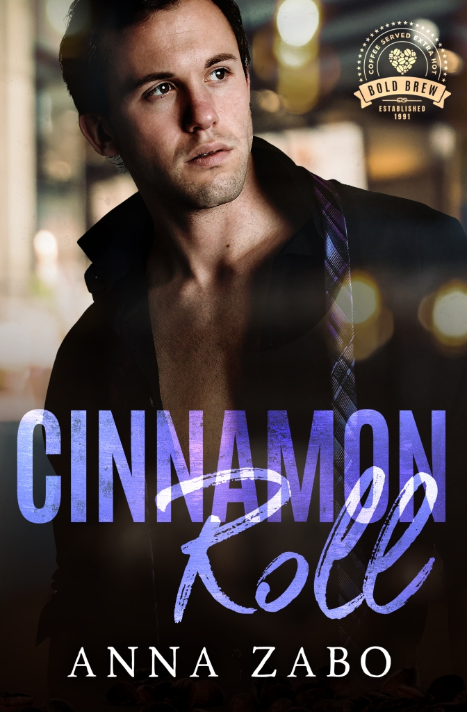 Image of the Cinnamon Roll book cover. A handsome white man looks to his left. He's wearing a black button-down that's undone, and has a purple plaid tie over one shoulder.