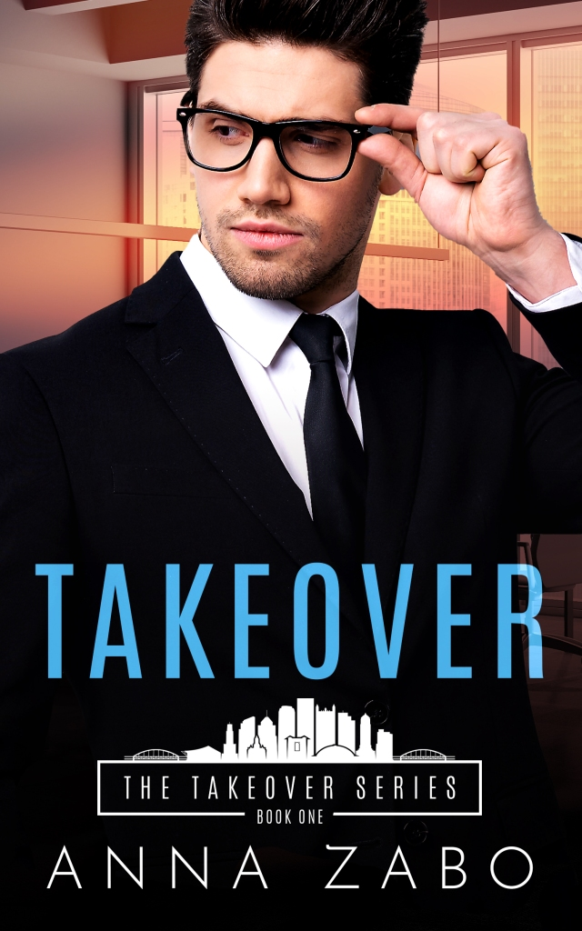 Cover for Takeover by Anna Zabo. Image of a man in a suit wearing glasses and looking to the left in a sexy manner.